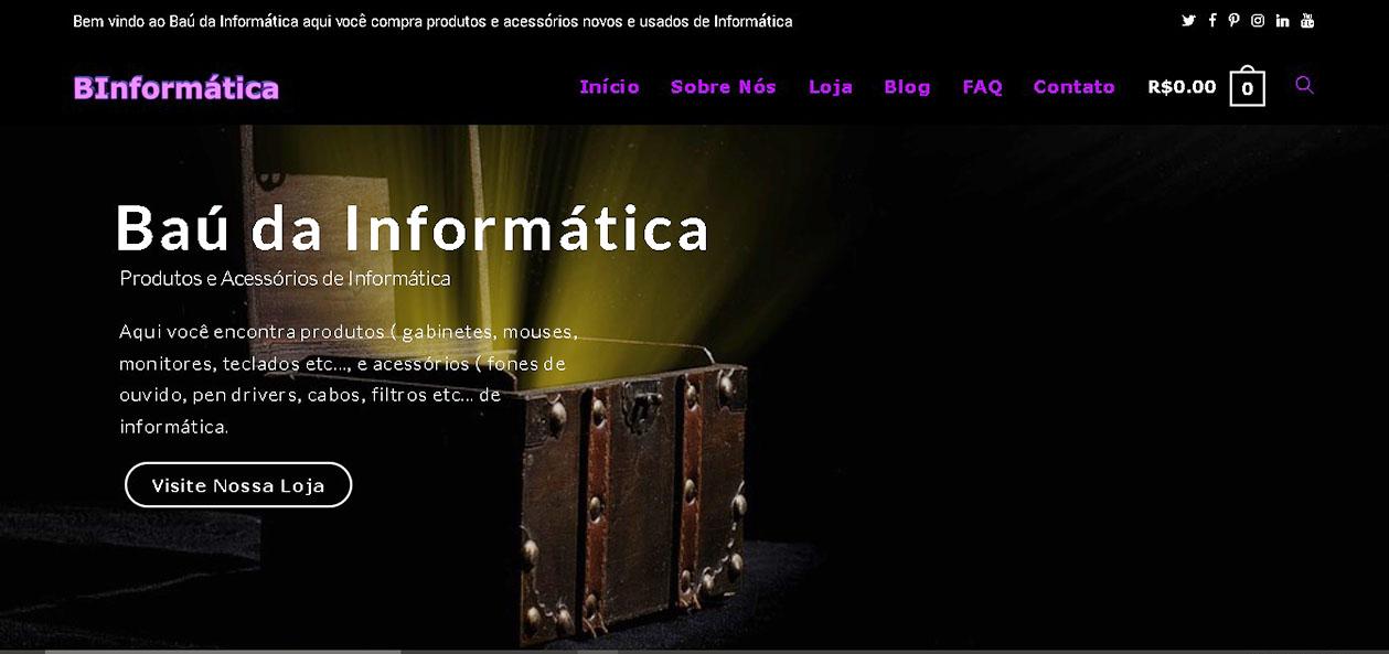 Print da pagina inicial do site Baú da Informática